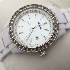 Fossil Ladies Watch White Band Date Calendar Cryst